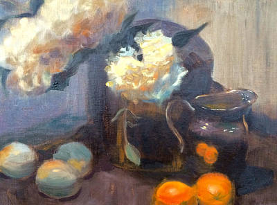 Painting - Flowers And Oranges by Dustin Miller