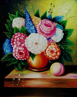 Painting - Flowers And Peach by Gene Gregory