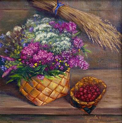 Russianartist Painting - Flowers And Raspberries by Anna Shurakova