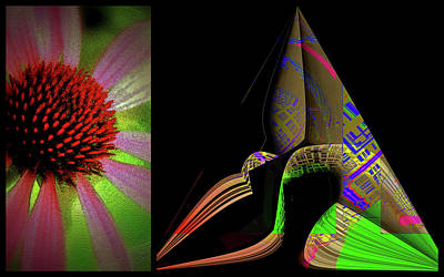 Art Print featuring the digital art Flowers And Shapes by Irma BACKELANT GALLERIES