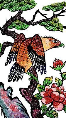 Mixed Media - Flowers And The Bird by Ian Gledhill