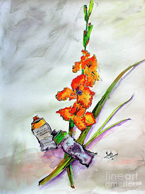 Flowers And Tubes Of Paint Still Life Art Print