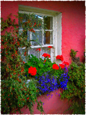 Digital Art - Flowers At An Irish Cottage by James Truett