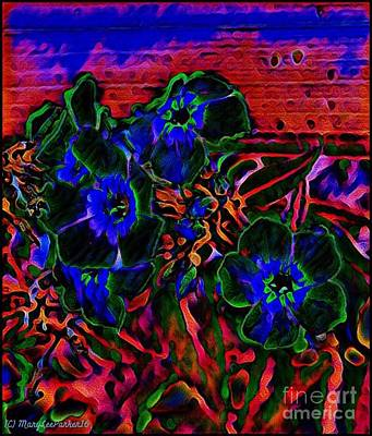 At Poster Mixed Media - Flowers At Midnight by MaryLee Parker