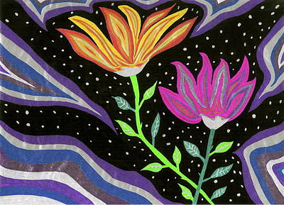 Flowers At Night Art Print by Michelle Meaney