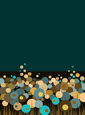 Flowers Bloom At Night - Aqua Print by Val Arie