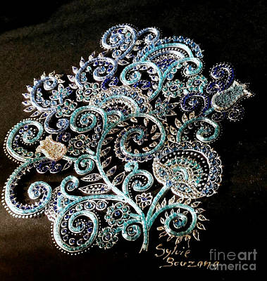 Glass Art - Flowers Blue by Sylvie Leandre