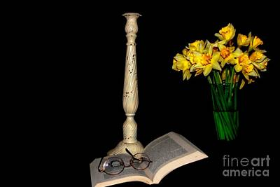 Photograph - Flowers -book - Candle by Marcia Lee Jones