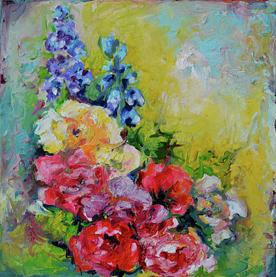 Moderne Kunst Painting - Flowers Bouquet - Blue Red And Yellow Flowers, Original Modern Floral Oil Painting by Soos Roxana Gabriela