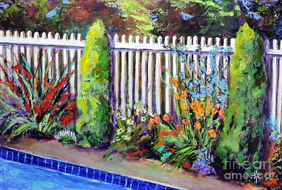 Painting - Flowers By The Pool by Jodie Marie Anne Richardson Traugott          aka jm-ART