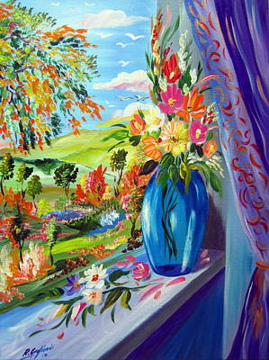 Painting - Flowers By The Window by Roberto Gagliardi