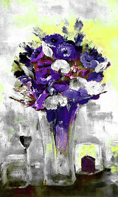 Digital Art - Flowers Chocolate Cake Wine For One Painting By Lisa Kaiser by Lisa Kaiser