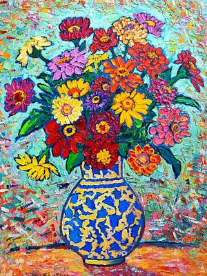 Vivid Colour Painting - Flowers - Colorful Zinnias Bouquet by Ana Maria Edulescu