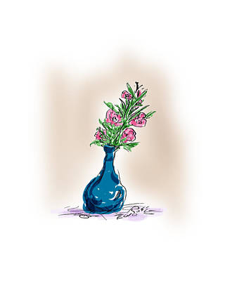 Digital Drawing Drawing - Flowers For Her by Ross Powell