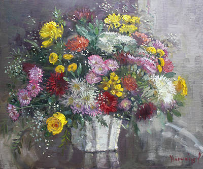 Floral Still Life Painting - Flowers For Viola by Ylli Haruni