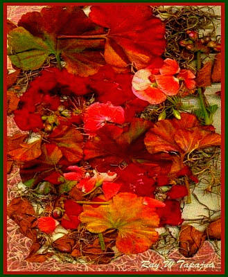 Print featuring the mixed media Flowers For You by Ray Tapajna