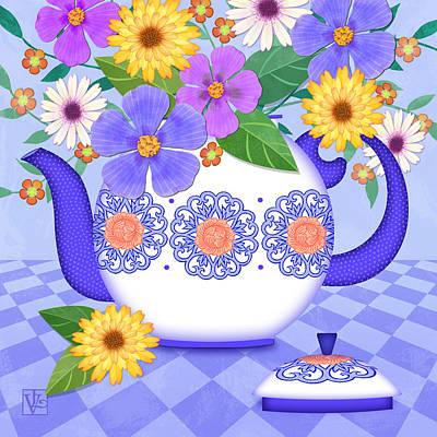 Folk Art Mixed Media - Flowers From My Garden by Valerie Drake Lesiak