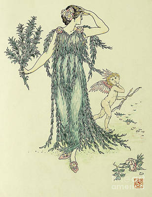 Crane Drawing - Flowers From Shakespeare's Garden  Rosemary by Walter Crane