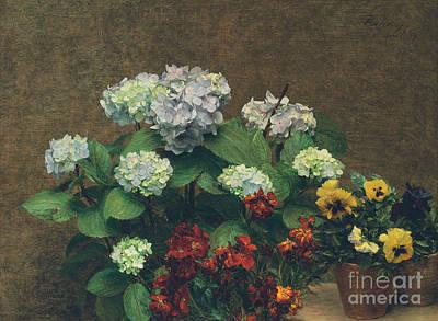 Pots Of Flowers Painting - Flowers  Hydrangea, Wallflowers, Two Pots Of Pansies by Ignace Henri Jean Fantin-Latour