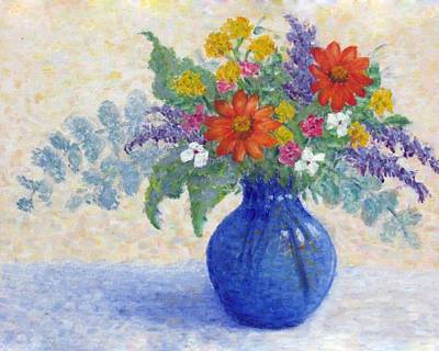 Painting - Flowers In A Blue Vase by Jean Ehler