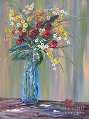 Painting - Flowers In A Blue Vase Soft Focus by Eloise Schneider