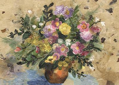 Flowers In A Clay Vase Art Print by Nira Schwartz