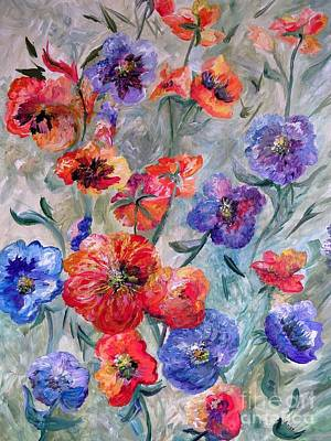Painting - Flowers In A Field Of Green by Eloise Schneider