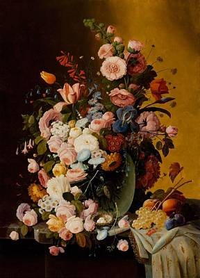Pitcher With Flowers Painting - Flowers In A Glass Pitcher With Bird Nest And Fruit by Severin Roesen