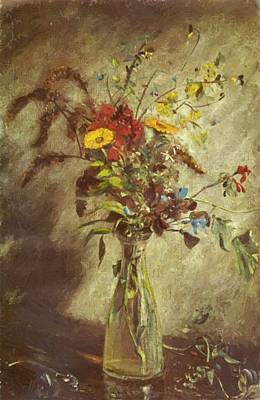 Painting - Flowers In A Glass Vase by Constable John