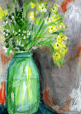 Flowers In A Green Jar- Art By Linda Woods Art Print by Linda Woods