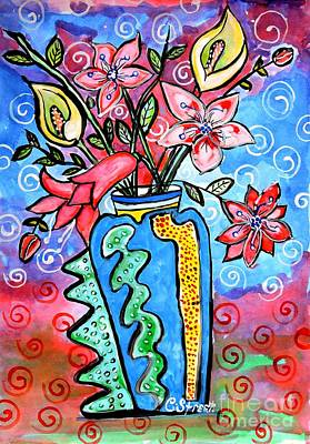 Flowers In A Peculiar Vase Art Print by Caroline Street