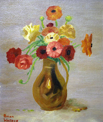 2d Painting - Flowers In A Pitcher -11 Yrs Old by Brian Wallace