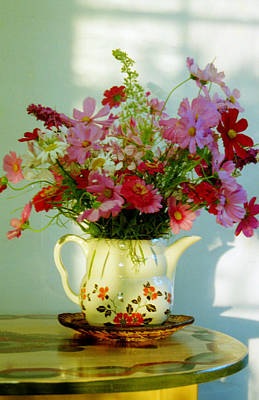 Flowers In A Teapot Art Print by Patricia Greer