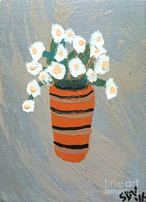 Flowers In A Terra Cotta Pot  Art Print