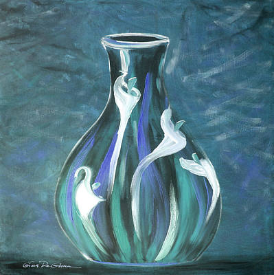 Painting - Flowers In A Vase In Blue by Gina De Gorna