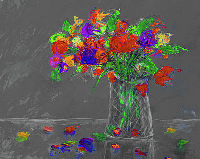 Painting - Flowers In A Vase Painting Grey by Ken Figurski