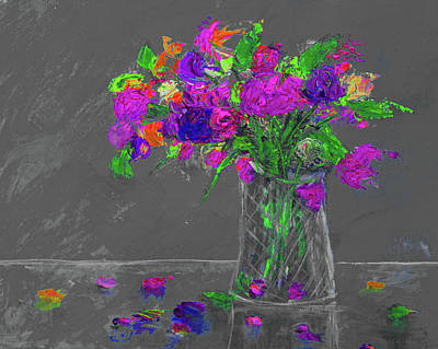 Painting - Flowers In A Vase Painting Grey Purple by Ken Figurski