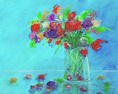 Flowers In A Vase Painting Red Original