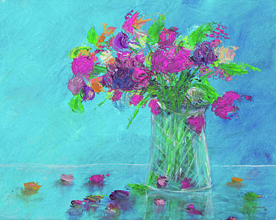 Painting - Flowers In A Vase Painting Pink by Ken Figurski