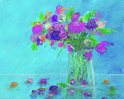 Painting - Flowers In A Vase Painting Purple by Ken Figurski