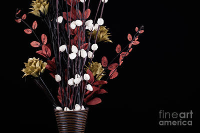 Flowers In A Vase With Black Background Art Print by Simon Bratt Photography LRPS