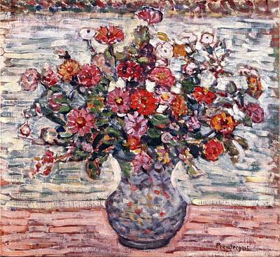 Zinnia Painting - Flowers In A Vase - Zinnias by Mountain Dreams