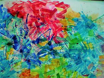Painting - Flowers In Abstract by Khalid Saeed