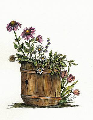 Painting - Flowers In Barrel by Shari Nees