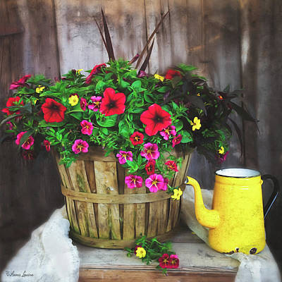 Photograph - Flowers In Basket And Old Yellow Pot by Anna Louise