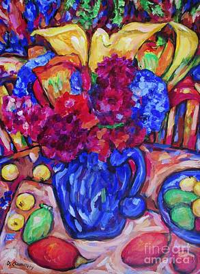 Painting - Flowers In Blue Vase by Dianne  Connolly