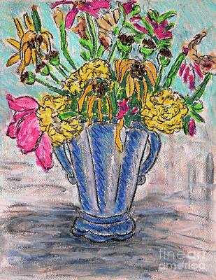 Flowers In Blue Vase Art Print by Gerhardt Isringhaus