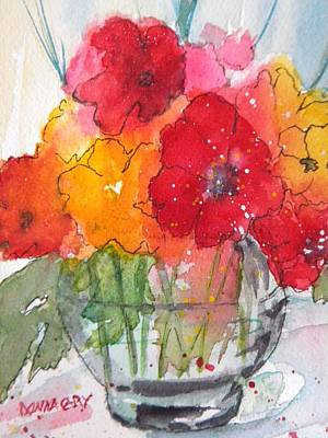 Flowers In Clear Glass Art Print by Donna Cary