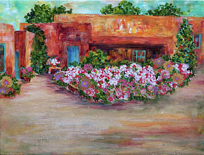 Flowers In Front Of Adobe Art Print