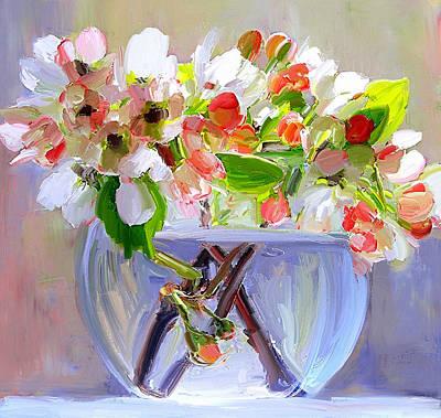Digital Art - Flowers In Glass Bowl by Yury Malkov